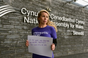 Senedd steps,home of the Welsh Assembly Cardiff Bay, Cardiff, South Wales. Supporters and staff from the charity Pancreatic Cancer Uk handed a petition into the Welsh Assembly Government demanding faster treatment. The petition attracted over 100.000 signatures UK wide and over 8000 from Wales alone.Peter Greening , a Senior Civil Servant received the petition on behalf of the Welsh Assembly.